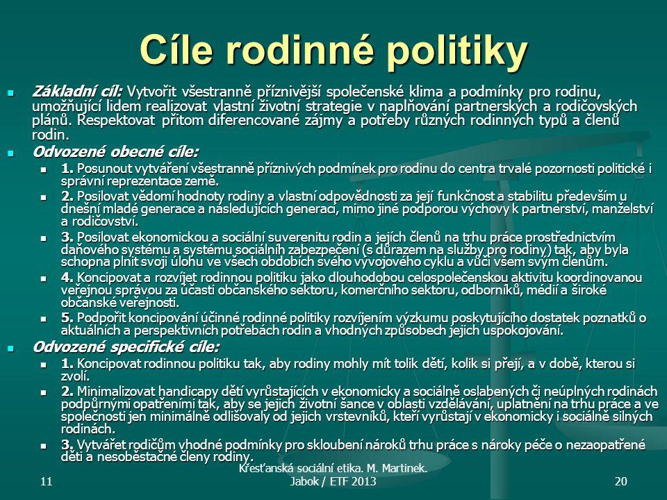 11 Křesťanská sociální etika. M. Martinek. Jabok / ETF 201320 Cíle rodinné politiky Základní cíl: Vytvořit všestranně příznivější společenské klima a