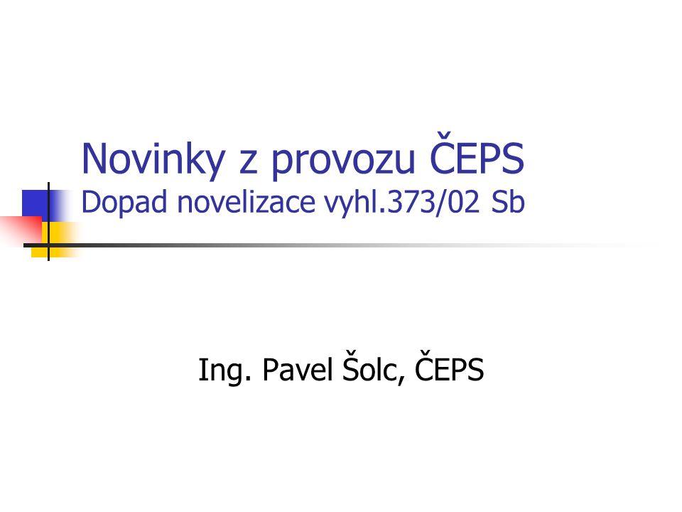 Novinky z provozu ČEPS Dopad novelizace vyhl.373/02 Sb Ing. Pavel Šolc, ČEPS