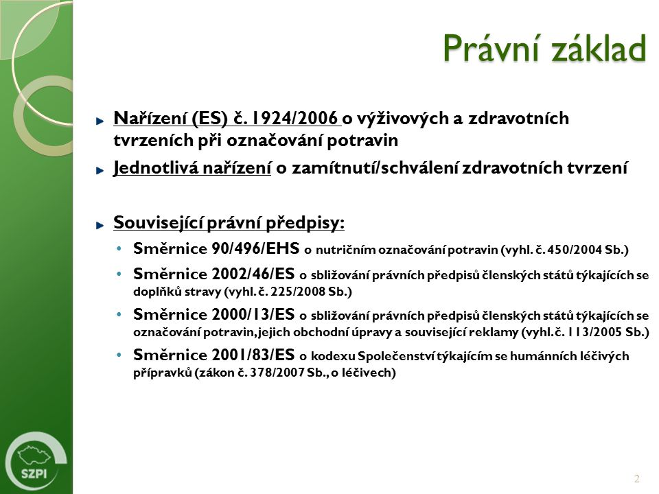 Právní základ Nařízení (ES) č. 1924/2006 o výživových a zdravotních tvrzeních při označování potravin Jednotlivá nařízení o zamítnutí/schválení zdravo