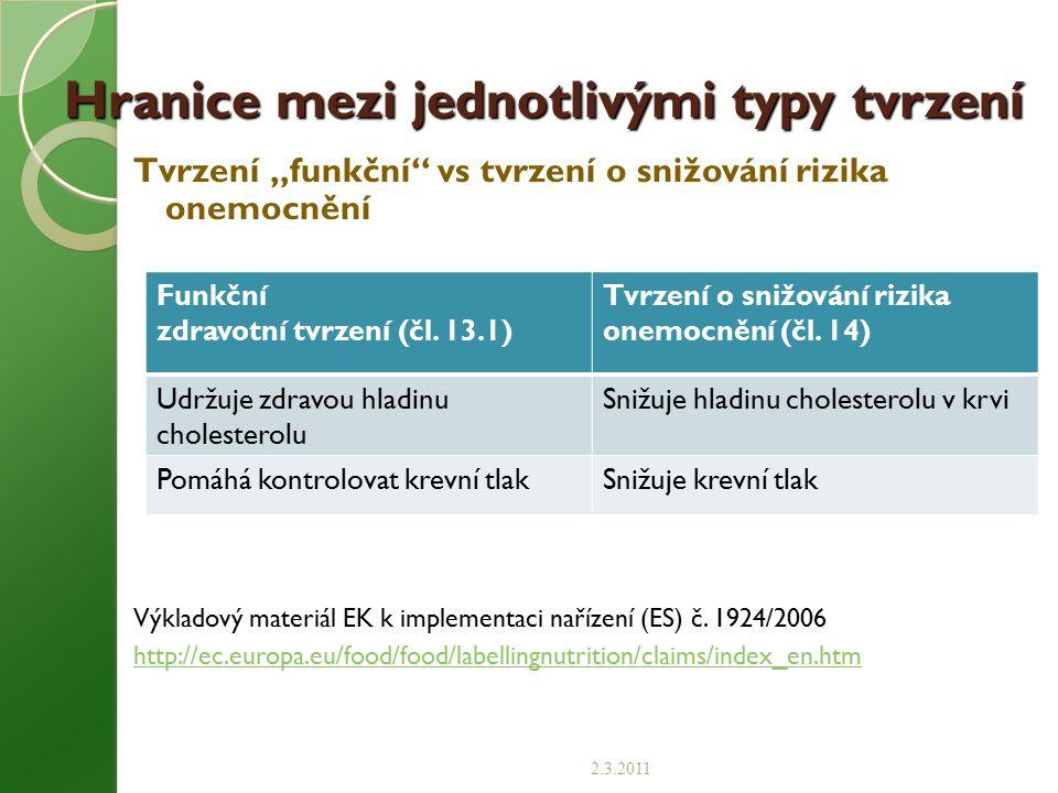 """Hranice mezi jednotlivými typy tvrzení Tvrzení """"funkční"""" vs tvrzení o snižování rizika onemocnění Výkladový materiál EK k implementaci nařízení (ES) č"""