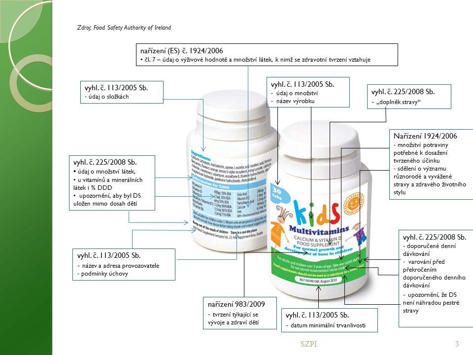 SZPI3 vyhl. č. 113/2005 Sb. - údaj o složkách vyhl. č. 225/2008 Sb. údaj o množství látek, u vitamínů a minerálních látek i % DDD upozornění, aby byl
