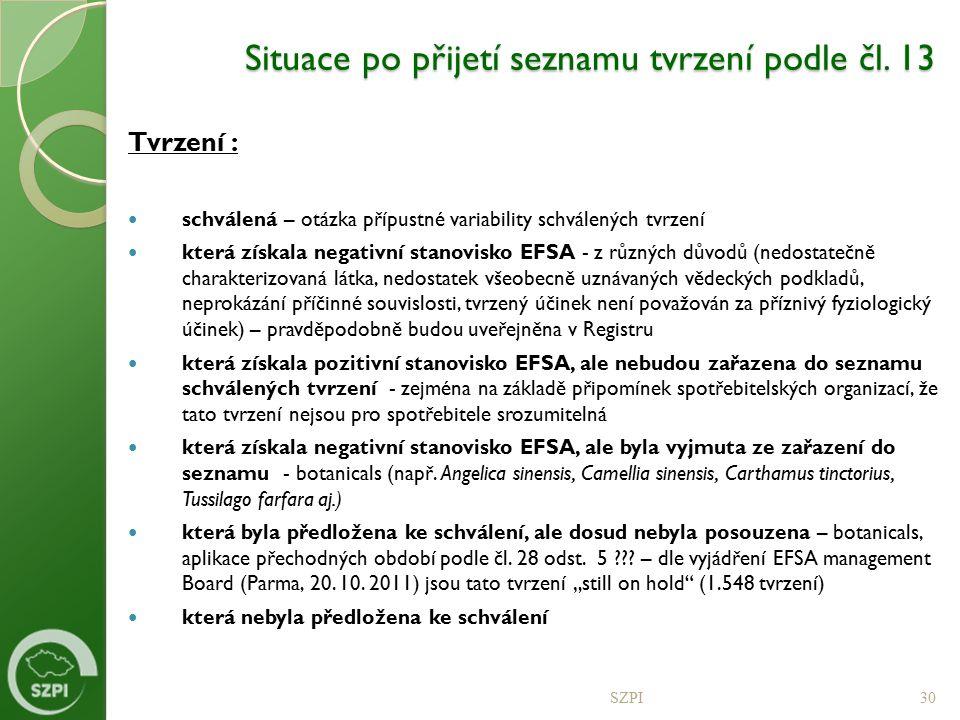 Situace po přijetí seznamu tvrzení podle čl. 13 Tvrzení : schválená – otázka přípustné variability schválených tvrzení která získala negativní stanovi