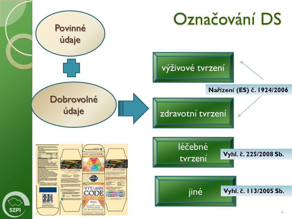 Označování DS 4 Povinné údaje Dobrovolné údaje výživové tvrzení léčebné tvrzení zdravotní tvrzení jiné Nařízení (ES) č. 1924/2006 Vyhl. č. 225/2008 Sb