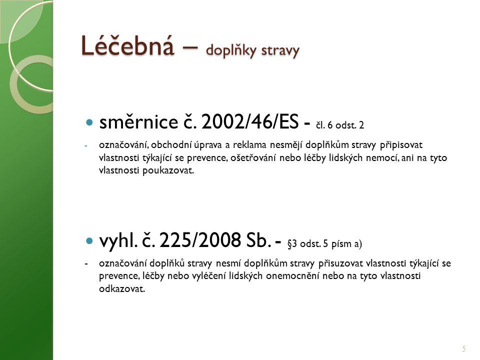 Tvrzení definice dle čl.2 nařízení (ES) č.