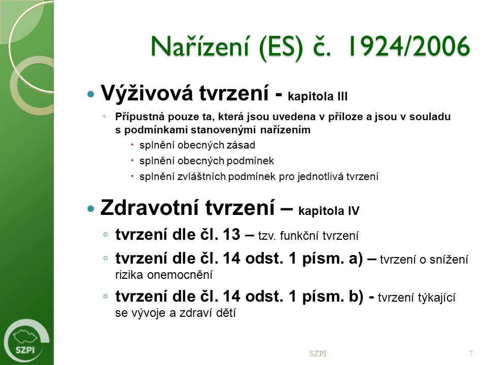 Nařízení (ES) č. 1924/2006 Výživová tvrzení - kapitola III ◦ Přípustná pouze ta, která jsou uvedena v příloze a jsou v souladu s podmínkami stanoveným