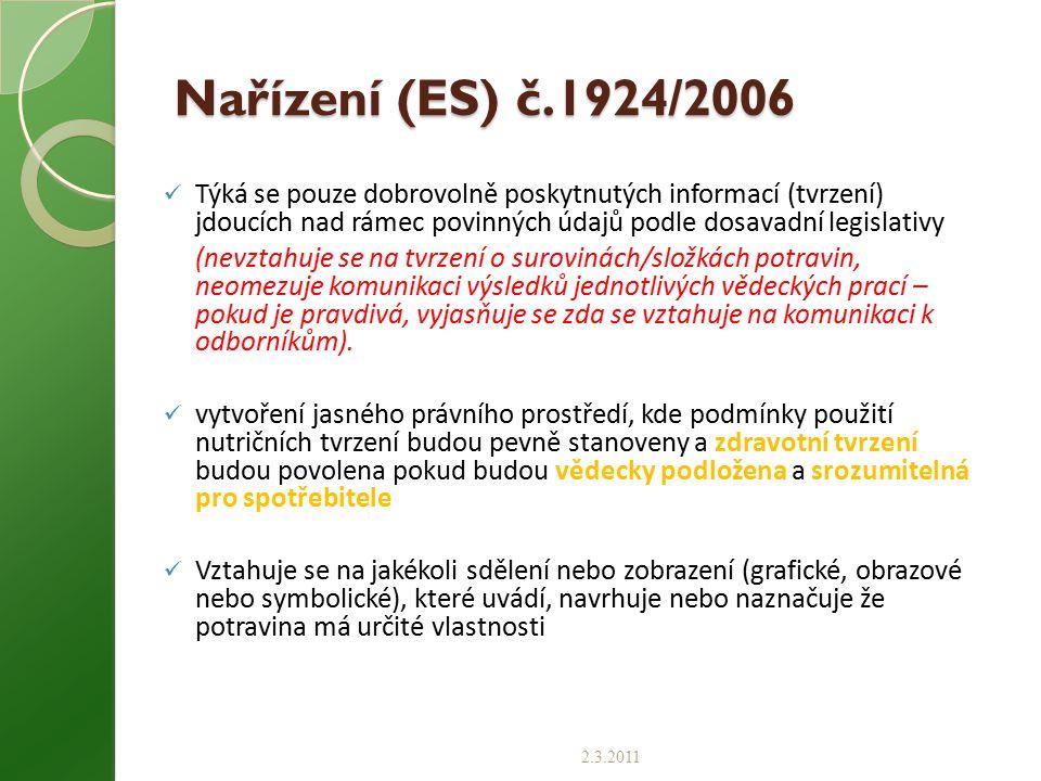 Nařízení (ES) č.1924/2006 Týká se pouze dobrovolně poskytnutých informací (tvrzení) jdoucích nad rámec povinných údajů podle dosavadní legislativy (ne
