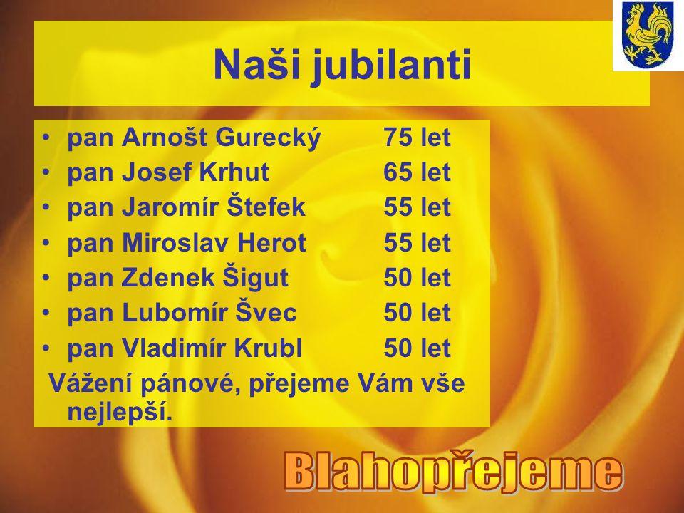 Naši jubilanti pan Arnošt Gurecký75 let pan Josef Krhut65 let pan Jaromír Štefek55 let pan Miroslav Herot55 let pan Zdenek Šigut50 let pan Lubomír Švec50 let pan Vladimír Krubl50 let Vážení pánové, přejeme Vám vše nejlepší.