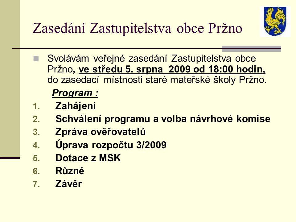 Zasedání Zastupitelstva obce Pržno Svolávám veřejné zasedání Zastupitelstva obce Pržno, ve středu 5.