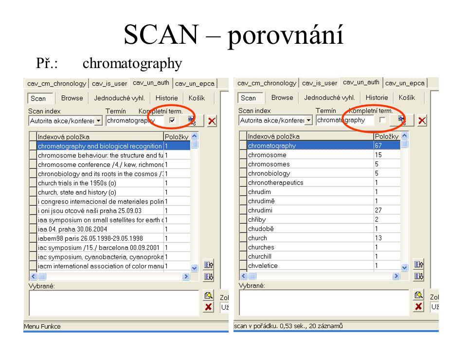 SCAN – porovnání Př.:chromatography