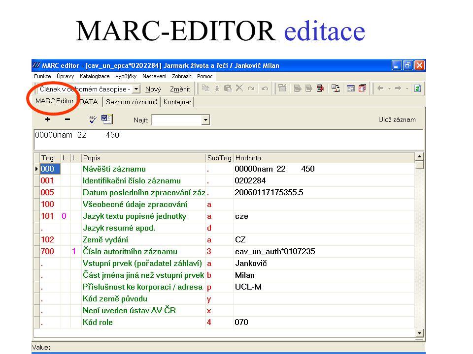 MARC-EDITOR editace