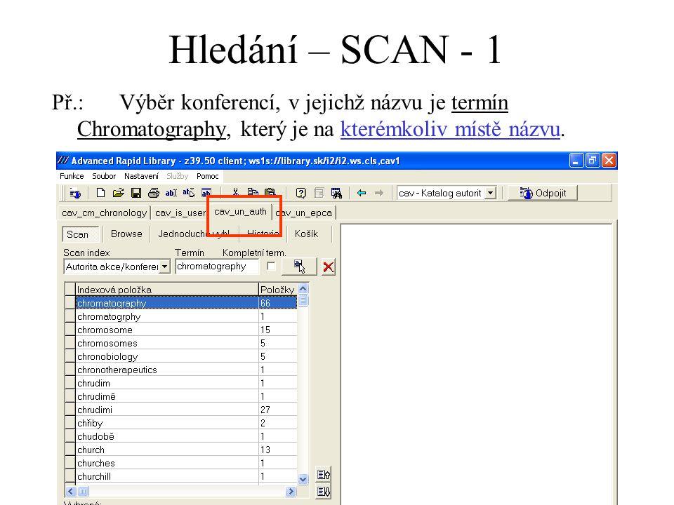 Hledání – SCAN - 1 Př.:Výběr konferencí, v jejichž názvu je termín Chromatography, který je na kterémkoliv místě názvu.