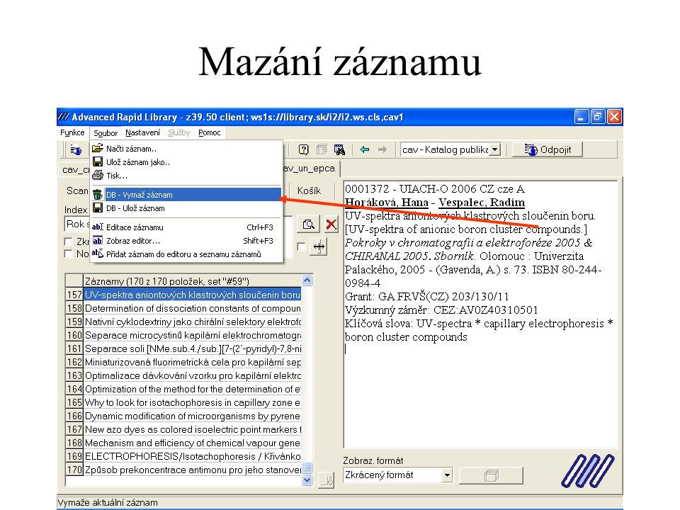 Mazání záznamu