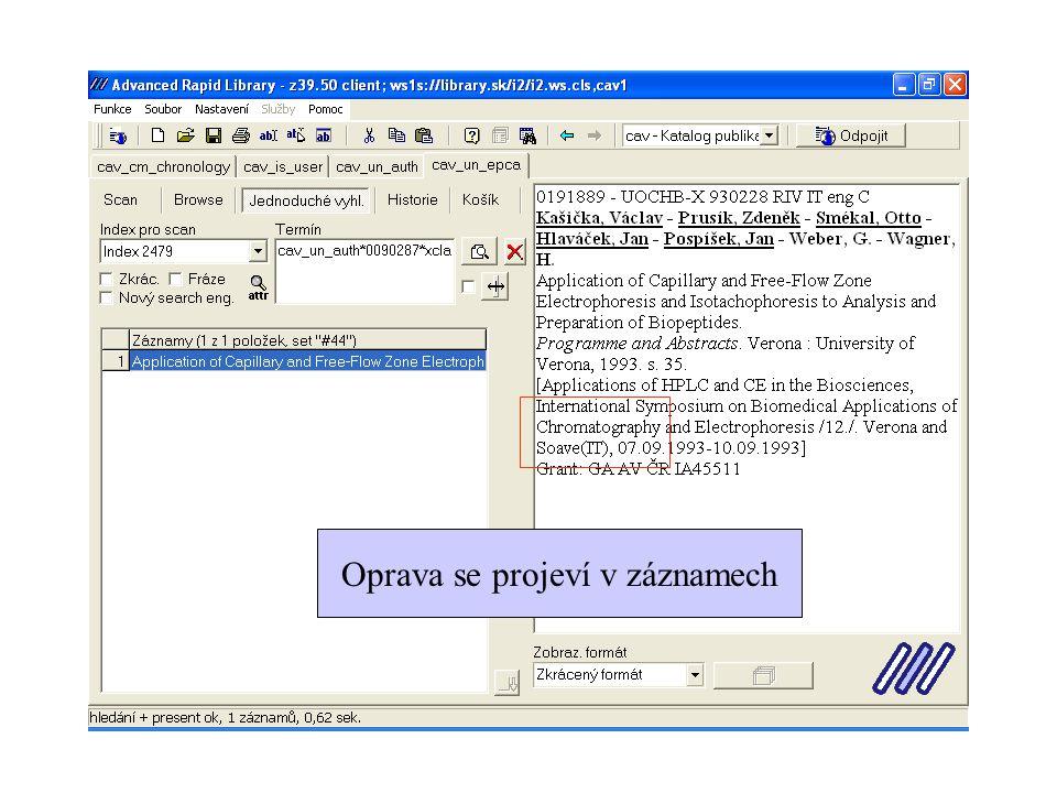 Editace polí 4xx a 7xx pomocí doplňkové obrazovky nebo dotažením linkovaného záznamu shift+F4