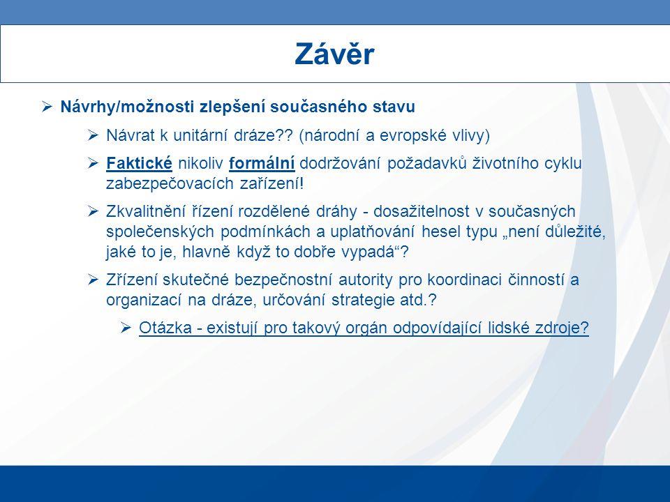 Závěr  Návrhy/možnosti zlepšení současného stavu  Návrat k unitární dráze .