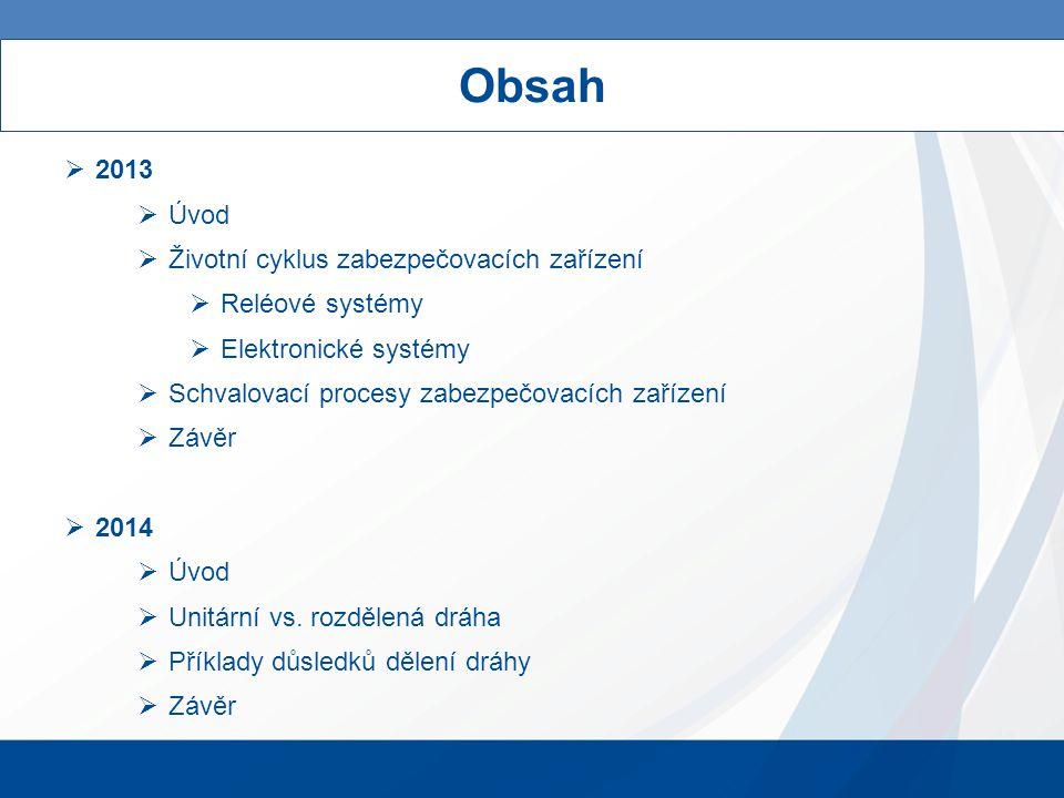Obsah  2013  Úvod  Životní cyklus zabezpečovacích zařízení  Reléové systémy  Elektronické systémy  Schvalovací procesy zabezpečovacích zařízení  Závěr  2014  Úvod  Unitární vs.