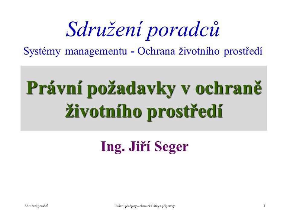 Právní požadavky v ochraně životního prostředí Ing. Jiří Seger Sdružení poradců Systémy managementu - Ochrana životního prostředí Právní předpisy – ch