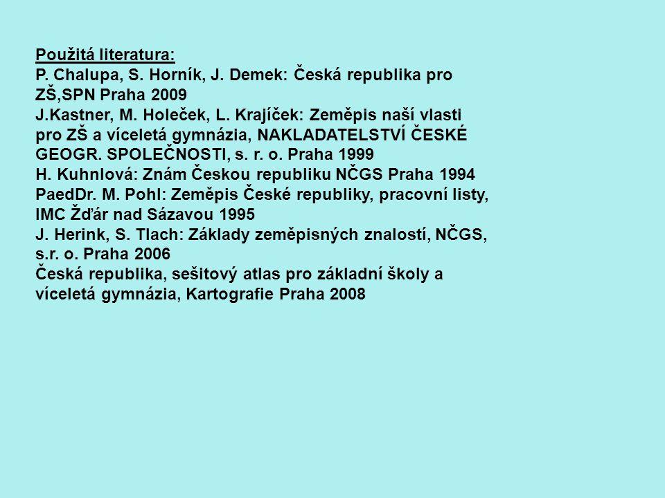 Použitá literatura: P. Chalupa, S. Horník, J. Demek: Česká republika pro ZŠ,SPN Praha 2009 J.Kastner, M. Holeček, L. Krajíček: Zeměpis naší vlasti pro