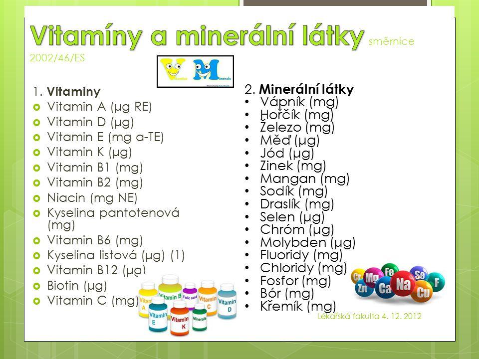 Vitamin A (μg) 800 Vitamin D (μg) 5 Vitamin E (mg) 12 Vitamin K (μg) 75 Vitamin C (mg) 80 Thiamin (mg) 1,1 Riboflavin (mg) 1,4 Niacin (mg) 16 Vitamin B6 (mg) 1,4 Kyselina listová (μg)200 Vitamin B12 (μg) 2,5 Biotin (μg) 50 Kyselina pantothenová (mg) 6 Vitamin A (μg) 800 Vitamin D (μg) 5 Vitamin E (mg) 12 Vitamin K (μg) 75 Vitamin C (mg) 80 Thiamin (mg) 1,1 Riboflavin (mg) 1,4 Niacin (mg) 16 Vitamin B6 (mg) 1,4 Kyselina listová (μg)200 Vitamin B12 (μg) 2,5 Biotin (μg) 50 Kyselina pantothenová (mg) 6 Lékařská fakulta 4.