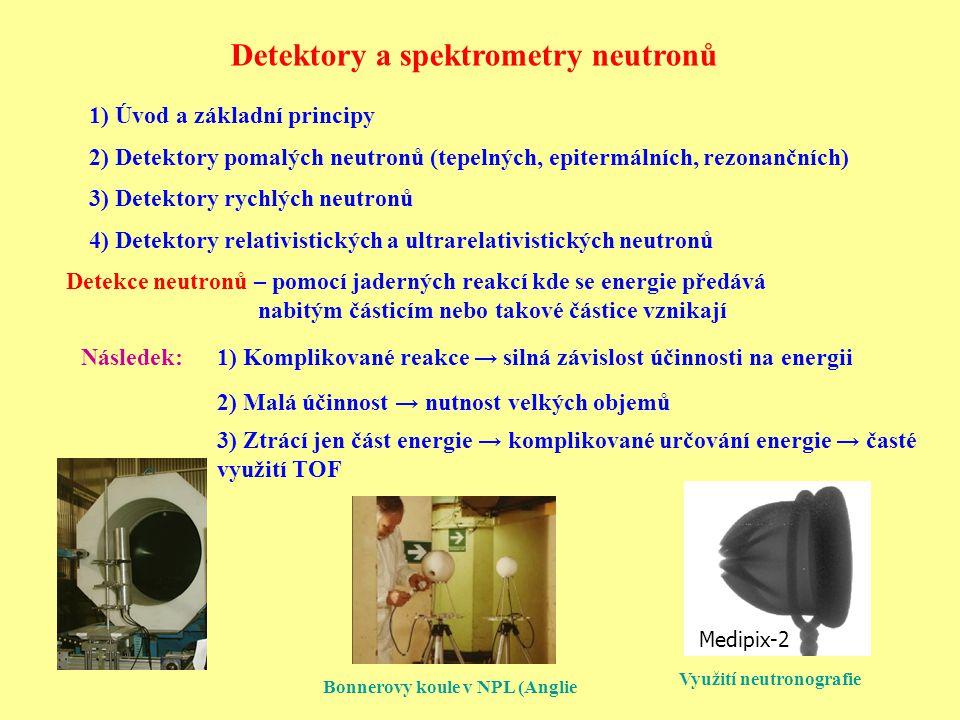 Detektory a spektrometry neutronů 1) Komplikované reakce → silná závislost účinnosti na energii 2) Malá účinnost → nutnost velkých objemů 3) Ztrácí jen část energie → komplikované určování energie → časté využití TOF 1) Úvod a základní principy 2) Detektory pomalých neutronů (tepelných, epitermálních, rezonančních) 3) Detektory rychlých neutronů 4) Detektory relativistických a ultrarelativistických neutronů Detekce neutronů – pomocí jaderných reakcí kde se energie předává nabitým částicím nebo takové částice vznikají Následek: Medipix-2 Bonnerovy koule v NPL (Anglie Využití neutronografie