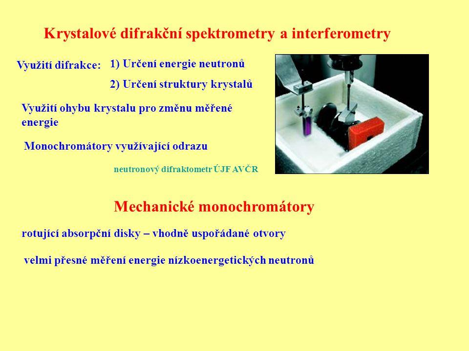 Krystalové difrakční spektrometry a interferometry Mechanické monochromátory rotující absorpční disky – vhodně uspořádané otvory Využití difrakce: 1) Určení energie neutronů 2) Určení struktury krystalů Využití ohybu krystalu pro změnu měřené energie neutronový difraktometr ÚJF AVČR velmi přesné měření energie nízkoenergetických neutronů Monochromátory využívající odrazu