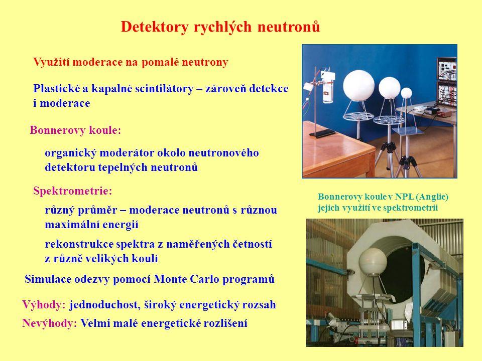 Detektory rychlých neutronů Využití moderace na pomalé neutrony Plastické a kapalné scintilátory – zároveň detekce i moderace Bonnerovy koule: Bonnerovy koule v NPL (Anglie) jejich využití ve spektrometrii organický moderátor okolo neutronového detektoru tepelných neutronů různý průměr – moderace neutronů s různou maximální energií Spektrometrie: rekonstrukce spektra z naměřených četností z různě velikých koulí Výhody: jednoduchost, široký energetický rozsah Nevýhody: Velmi malé energetické rozlišení Simulace odezvy pomocí Monte Carlo programů