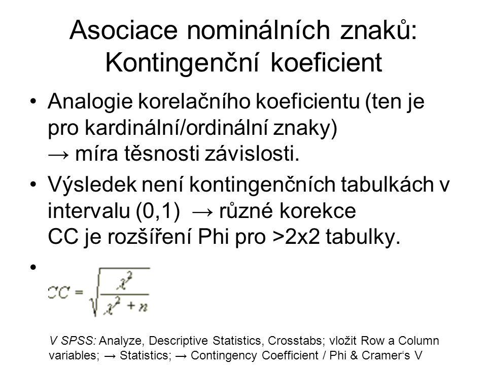 Asociace nominálních znaků: Kontingenční koeficient Analogie korelačního koeficientu (ten je pro kardinální/ordinální znaky) → míra těsnosti závislost