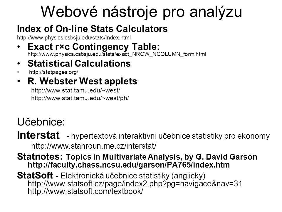 Webové nástroje pro analýzu Index of On-line Stats Calculators http://www.physics.csbsju.edu/stats/Index.html Exact r×c Contingency Table: http://www.