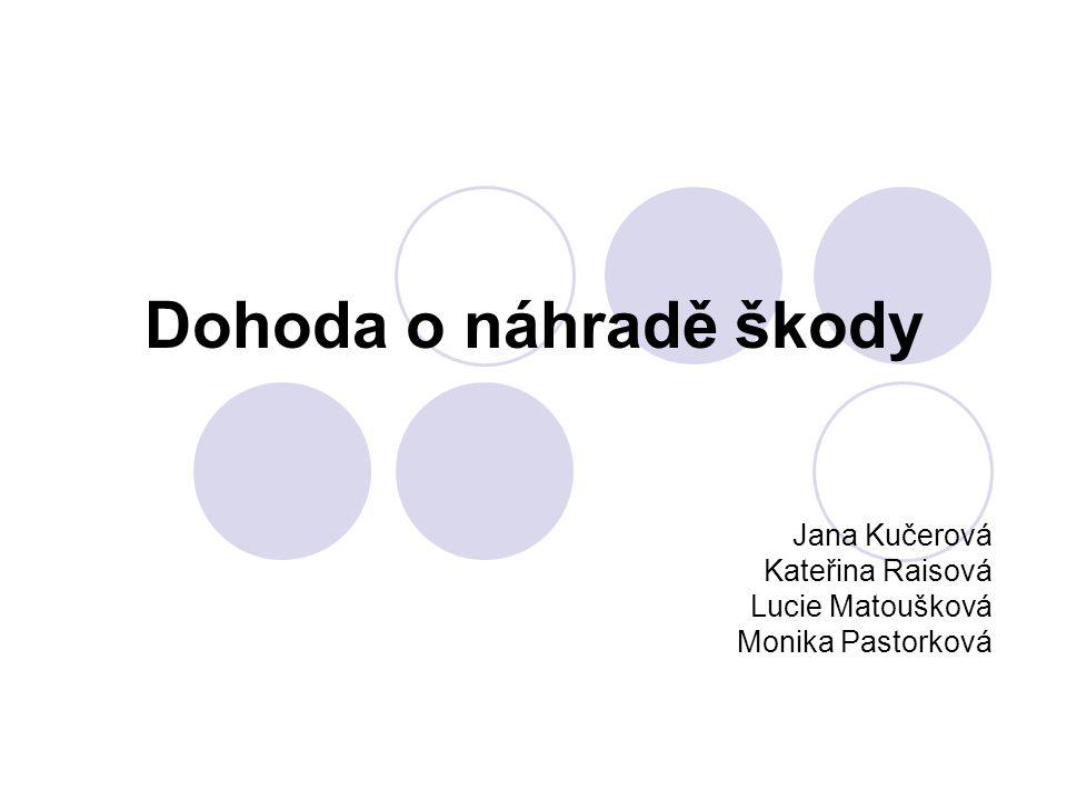 Dohoda o náhradě škody Jana Kučerová Kateřina Raisová Lucie Matoušková Monika Pastorková