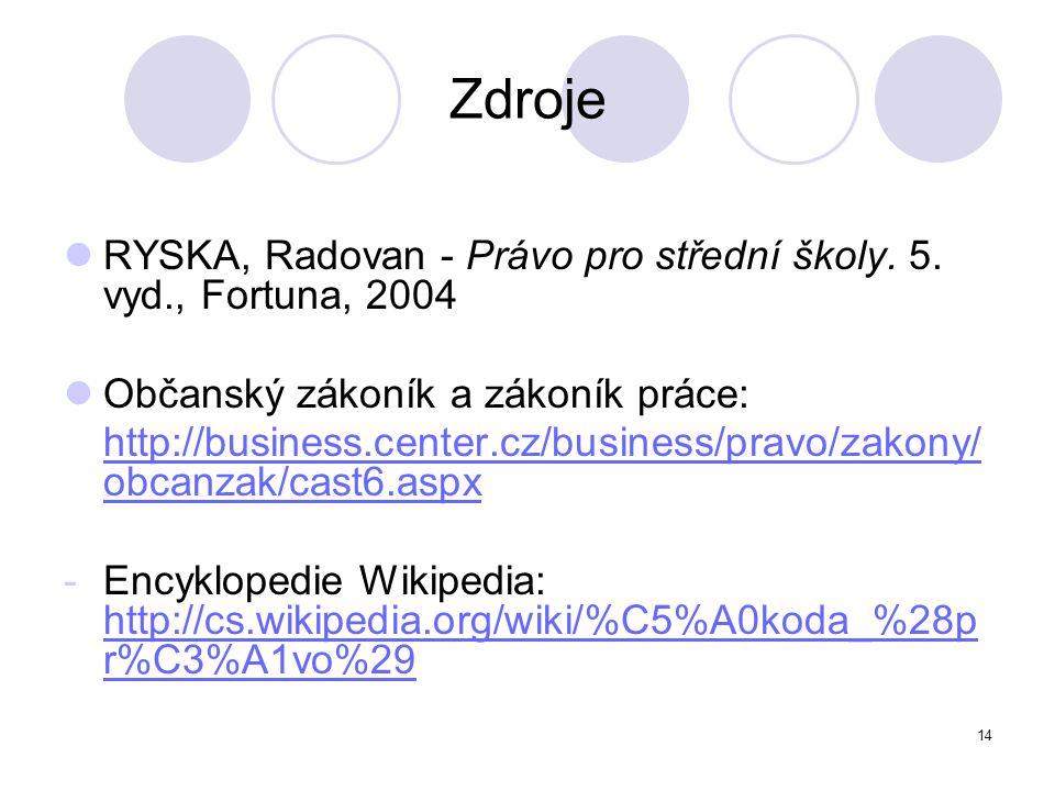 14 Zdroje RYSKA, Radovan - Právo pro střední školy. 5. vyd., Fortuna, 2004 Občanský zákoník a zákoník práce: http://business.center.cz/business/pravo/