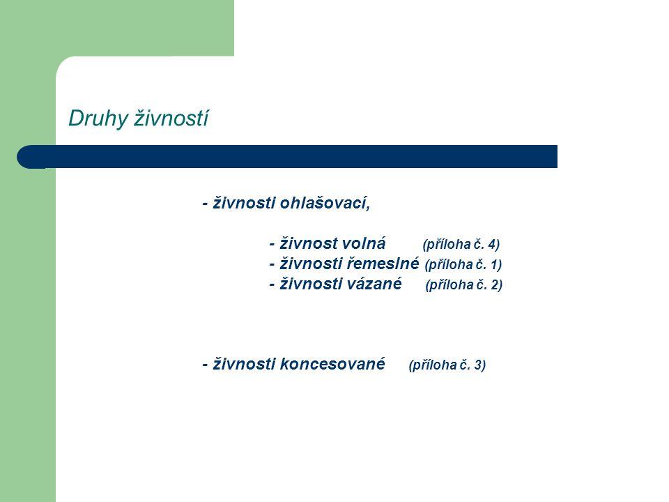 Druhy živností - živnosti ohlašovací, - živnost volná (příloha č. 4) - živnosti řemeslné (příloha č. 1) - živnosti vázané (příloha č. 2) - živnosti ko
