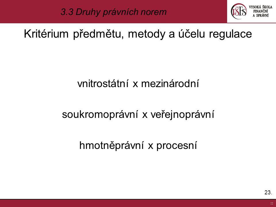 Kritérium předmětu, metody a účelu regulace vnitrostátní x mezinárodní soukromoprávní x veřejnoprávní hmotněprávní x procesní 23. :: 3.3 Druhy právníc