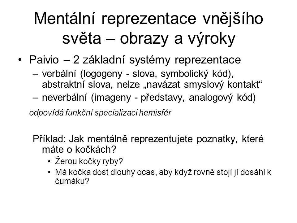 Mentální reprezentace vnějšího světa – obrazy a výroky Paivio – 2 základní systémy reprezentace –verbální (logogeny - slova, symbolický kód), abstrakt
