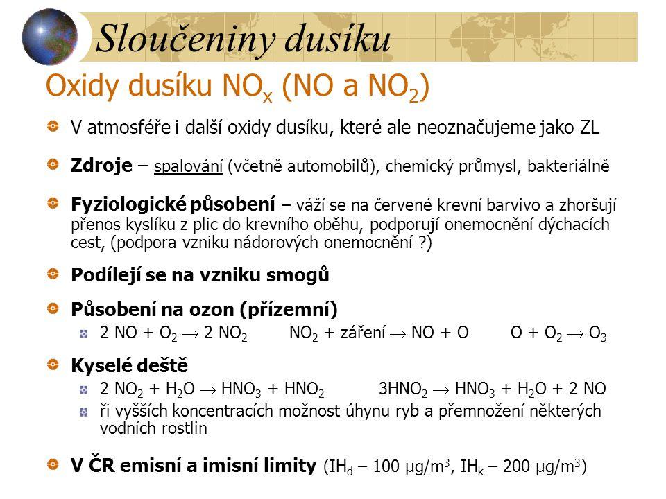 Sloučeniny dusíku Amoniak (čpavek) NH 3 Nepatří mezi významné ZL Zdroje přírodní – rozkladem bílkovin ve vodě a půdě antropogenní – koksovny, chemický průmysl Výrazný zápach V ovzduší je neutralizován kyselými látkami na amonné soli