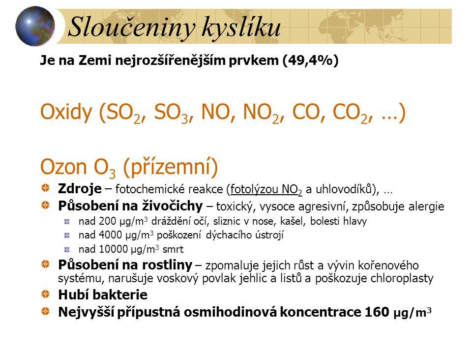 Sloučeniny kyslíku Je na Zemi nejrozšířenějším prvkem (49,4%) Oxidy (SO 2, SO 3, NO, NO 2, CO, CO 2, …) Ozon O 3 (přízemní) Zdroje – fotochemické reak