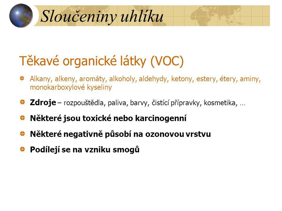 Sloučeniny uhlíku Těkavé organické látky (VOC) Alkany, alkeny, aromáty, alkoholy, aldehydy, ketony, estery, étery, aminy, monokarboxylové kyseliny Zdr