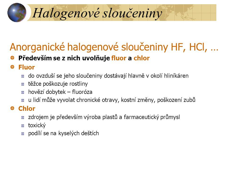 Halogenové sloučeniny Anorganické halogenové sloučeniny HF, HCl, … Především se z nich uvolňuje fluor a chlor Fluor do ovzduší se jeho sloučeniny dost