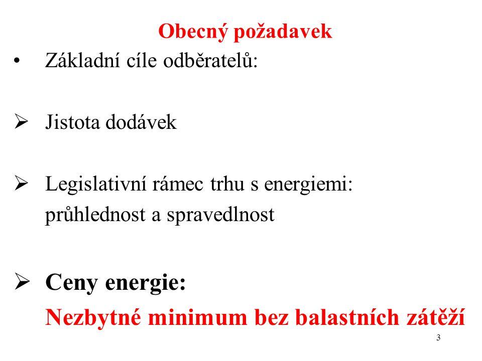 3 Základní cíle odběratelů:  Jistota dodávek  Legislativní rámec trhu s energiemi: průhlednost a spravedlnost  Ceny energie: Nezbytné minimum bez balastních zátěží Obecný požadavek
