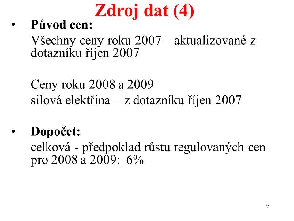 7 Zdroj dat (4) Původ cen: Všechny ceny roku 2007 – aktualizované z dotazníku říjen 2007 Ceny roku 2008 a 2009 silová elektřina – z dotazníku říjen 2007 Dopočet: celková - předpoklad růstu regulovaných cen pro 2008 a 2009: 6%