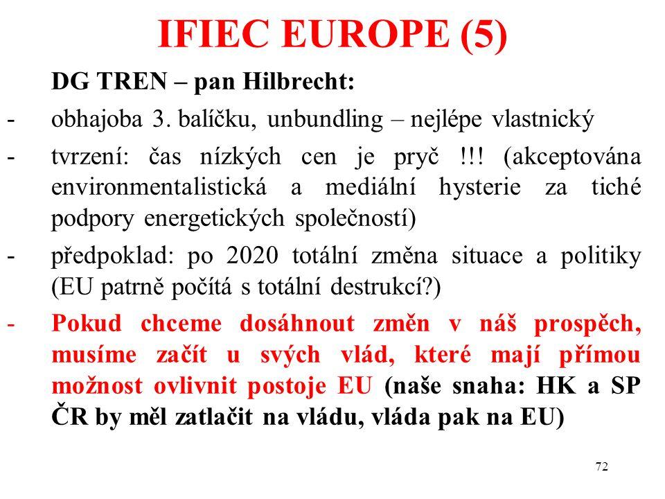 72 DG TREN – pan Hilbrecht: -obhajoba 3. balíčku, unbundling – nejlépe vlastnický -tvrzení: čas nízkých cen je pryč !!! (akceptována environmentalisti