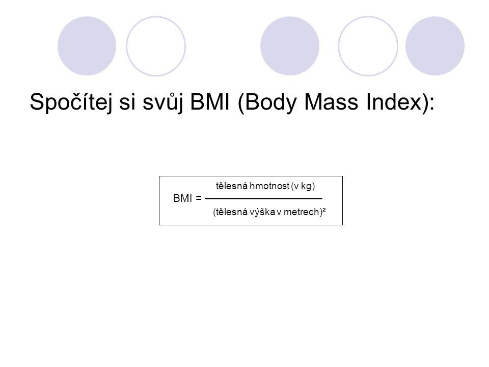 tělesná hmotnost (v kg) BMI = ——————————— (tělesná výška v metrech)² Spočítej si svůj BMI (Body Mass Index):