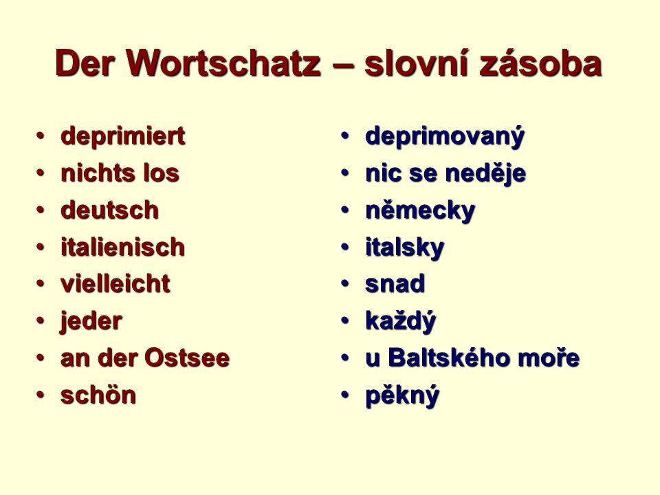 Der Wortschatz – slovní zásoba deprimiertdeprimiert nichts losnichts los deutschdeutsch italienischitalienisch vielleichtvielleicht jederjeder an der