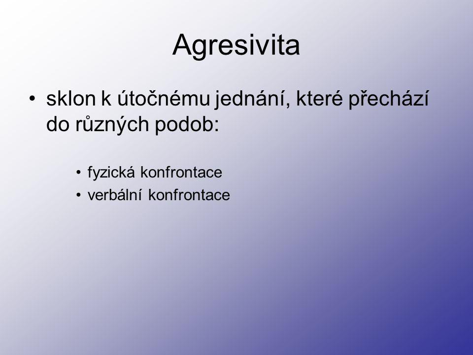 Agresivita sklon k útočnému jednání, které přechází do různých podob: fyzická konfrontace verbální konfrontace