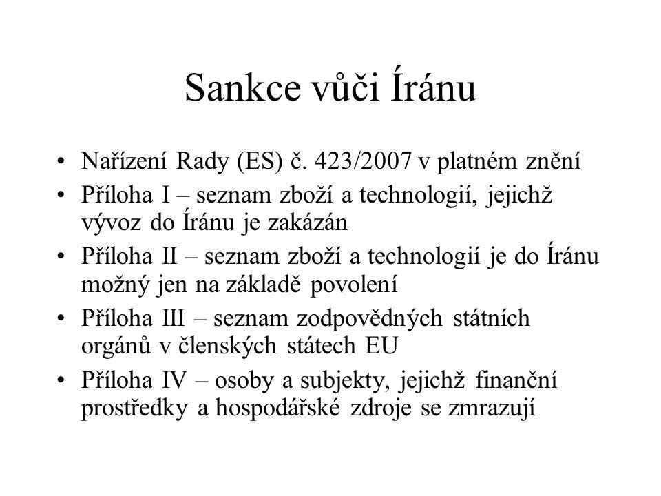 Sankce vůči Íránu Nařízení Rady (ES) č.