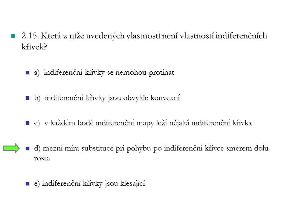 Která z níže uvedených vlastností není vlastností indiferenčních křivek.