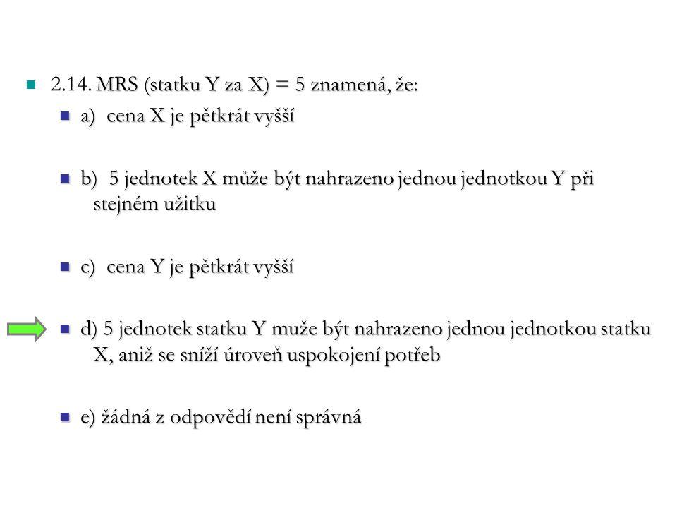 MRS (statku Y za X) = 5 znamená, že: 2.14. MRS (statku Y za X) = 5 znamená, že: a) cena X je pětkrát vyšší a) cena X je pětkrát vyšší b) 5 jednotek X