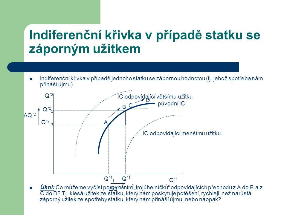 Indiferenční křivka v případě statku se záporným užitkem indiferenční křivka v případě jednoho statku se zápornou hodnotou (tj. jehož spotřeba nám při