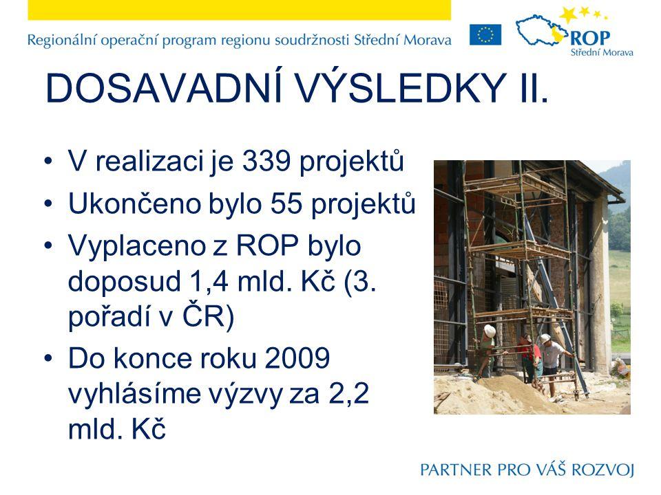 DOSAVADNÍ VÝSLEDKY II. V realizaci je 339 projektů Ukončeno bylo 55 projektů Vyplaceno z ROP bylo doposud 1,4 mld. Kč (3. pořadí v ČR) Do konce roku 2