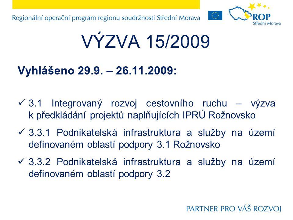 Vyhlášeno 29.9. – 26.11.2009: 3.1 Integrovaný rozvoj cestovního ruchu – výzva k předkládání projektů naplňujících IPRÚ Rožnovsko 3.3.1 Podnikatelská i