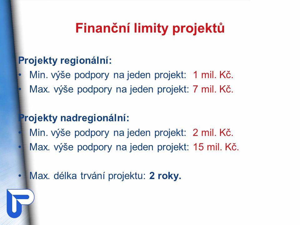 Finanční limity projektů Projekty regionální: Min. výše podpory na jeden projekt: 1 mil. Kč. Max. výše podpory na jeden projekt: 7 mil. Kč. Projekty n