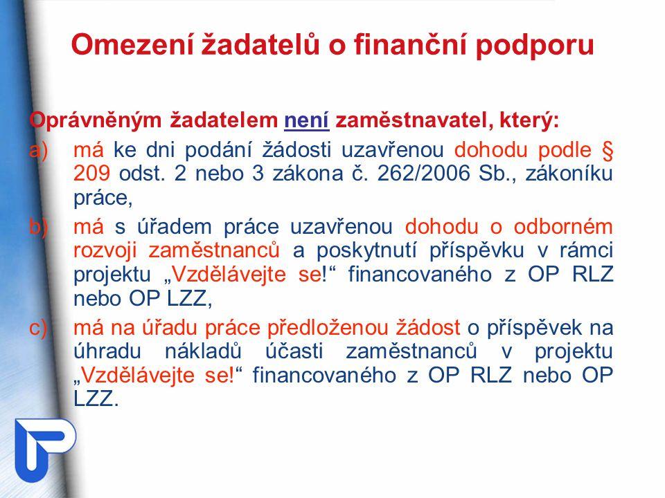 Omezení žadatelů o finanční podporu Oprávněným žadatelem není zaměstnavatel, který: a)má ke dni podání žádosti uzavřenou dohodu podle § 209 odst.
